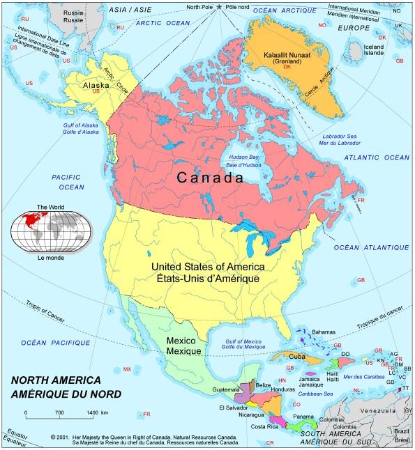 Les pays de l'extrême nord de l'Amérique et ses alentours  map2